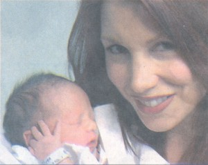 Singer Lee Aaron shows off her son Jett, named for the James Dean character in the movie Giant.